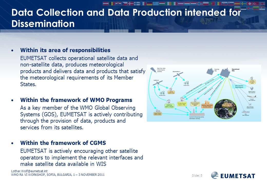 Lothar.Wolf@eumetsat.int WMO RA VI WORKSHOP, SOFIA, BULGARIA, 1 – 3 NOVEMBER 2011 Slide: 6 Information Provision Intended for Global and non-Global Exchange EUMETSAT is responsible for provision of real-time functions of data and product dissemination Via Direct Dissemination and EUMETCast, its satellite dissemination systems Via GTS/RMDCN Via bi-lateral data exchange links to strategic partners EUMETSAT is also disseminating data and metadata world-wide through GEONETCast a near real time, global network of satellite-based data dissemination systems.