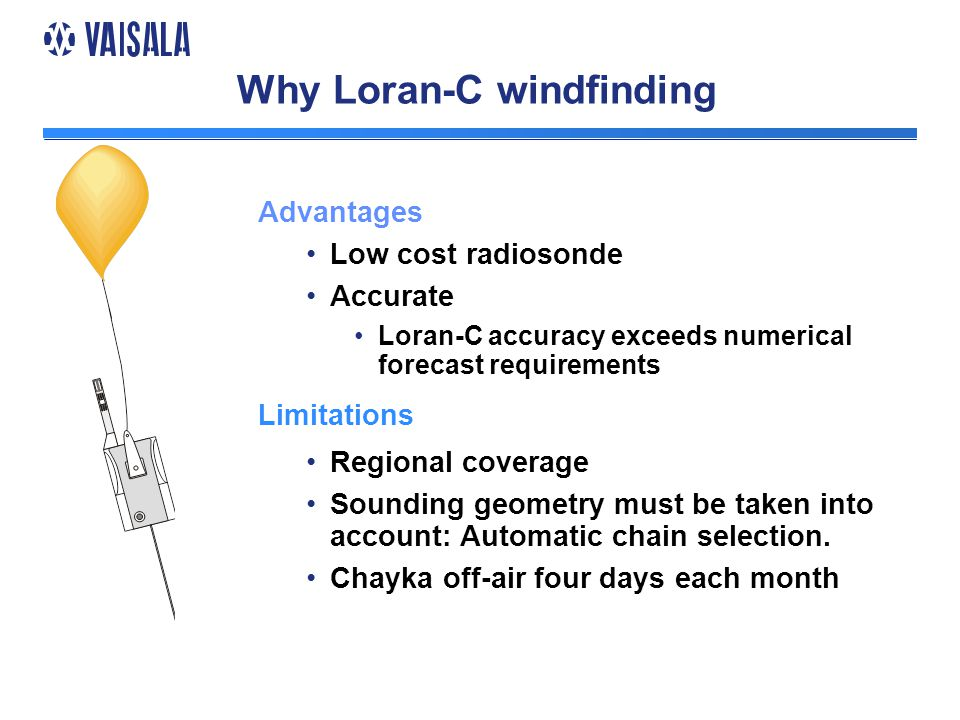 Why Loran-C windfinding Advantages Low cost radiosonde Accurate Loran-C accuracy exceeds numerical forecast requirements Limitations Regional coverage Sounding geometry must be taken into account: Automatic chain selection.