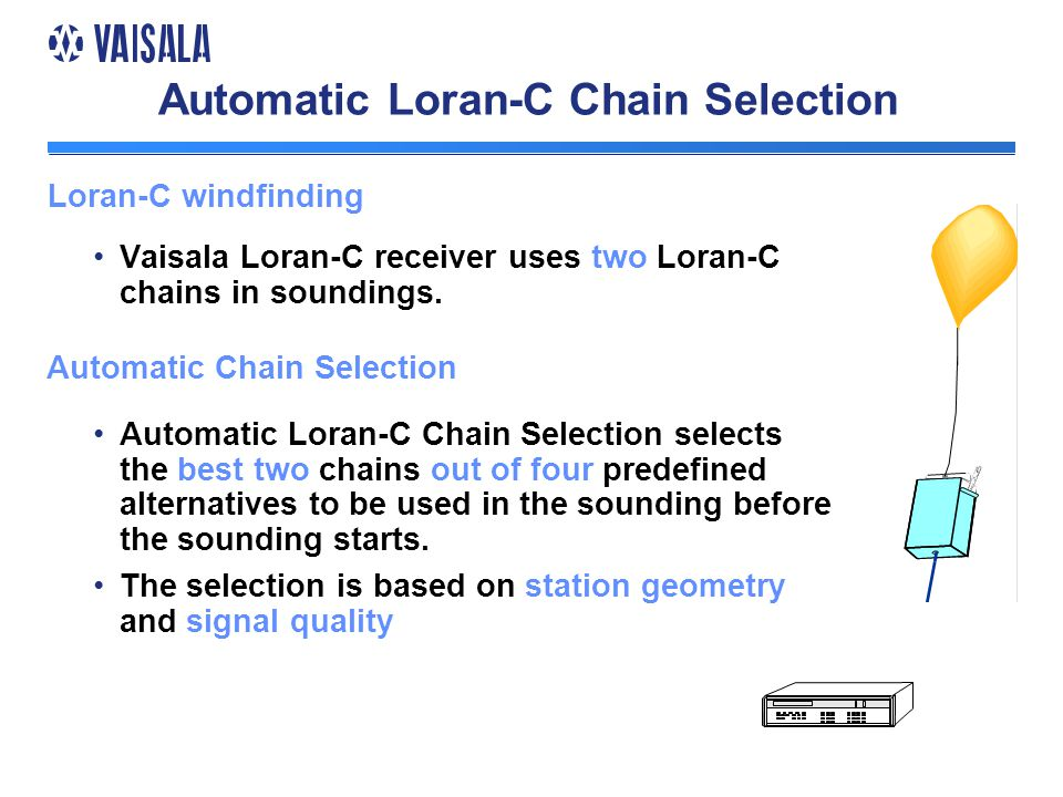 Automatic Loran-C Chain Selection Vaisala Loran-C receiver uses two Loran-C chains in soundings.