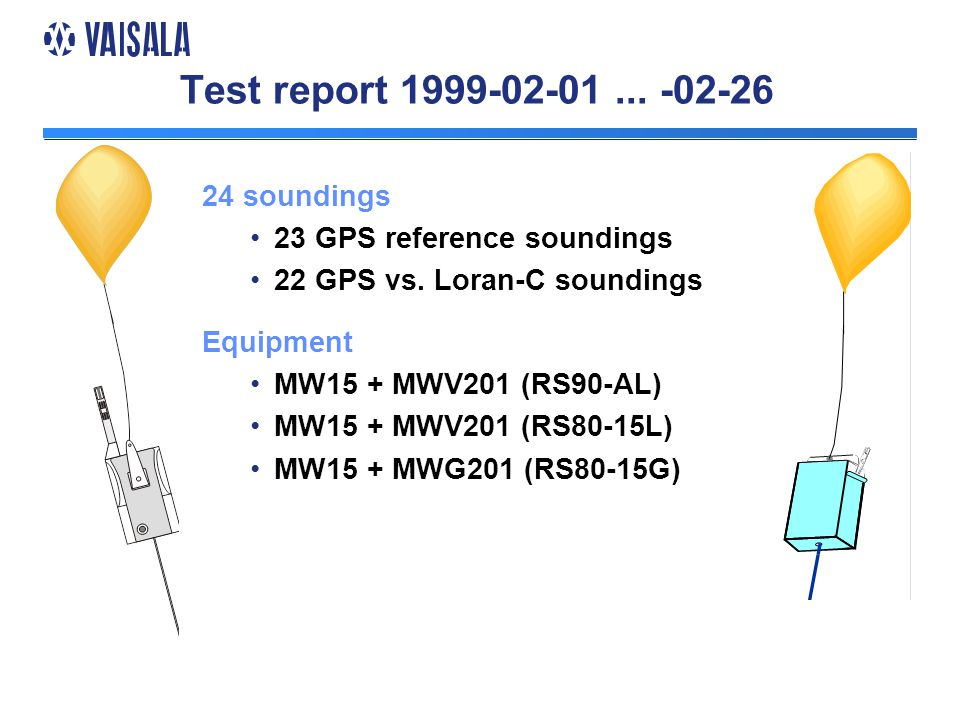 Test report 1999-02-01... -02-26 24 soundings 23 GPS reference soundings 22 GPS vs.