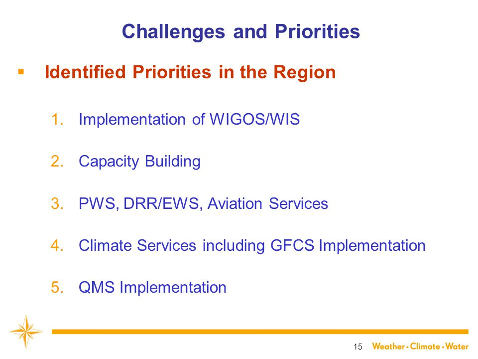 15 Challenges and Priorities  Identified Priorities in the Region 1.Implementation of WIGOS/WIS 2.Capacity Building 3.PWS, DRR/EWS, Aviation Services 4.Climate Services including GFCS Implementation 5.QMS Implementation