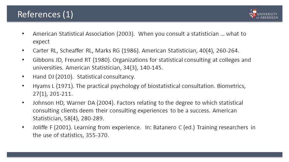 References (1) American Statistical Association (2003).