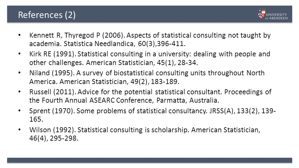 References (2) Kennett R, Thyregod P (2006).