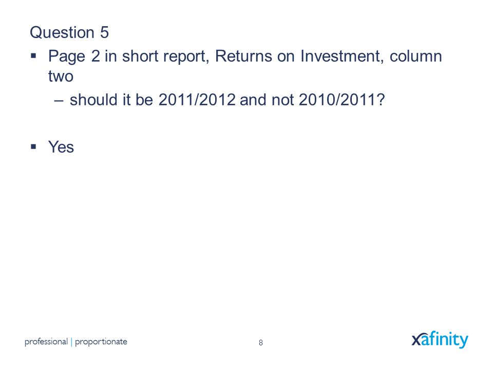 8 Question 5  Page 2 in short report, Returns on Investment, column two –should it be 2011/2012 and not 2010/2011.