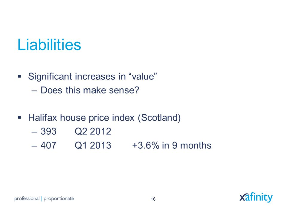 16 Liabilities  Significant increases in value –Does this make sense.