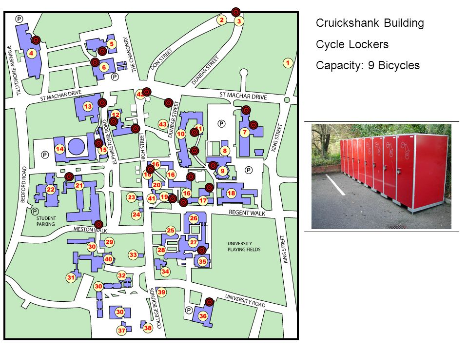 Cruickshank Building Cycle Lockers Capacity: 9 Bicycles
