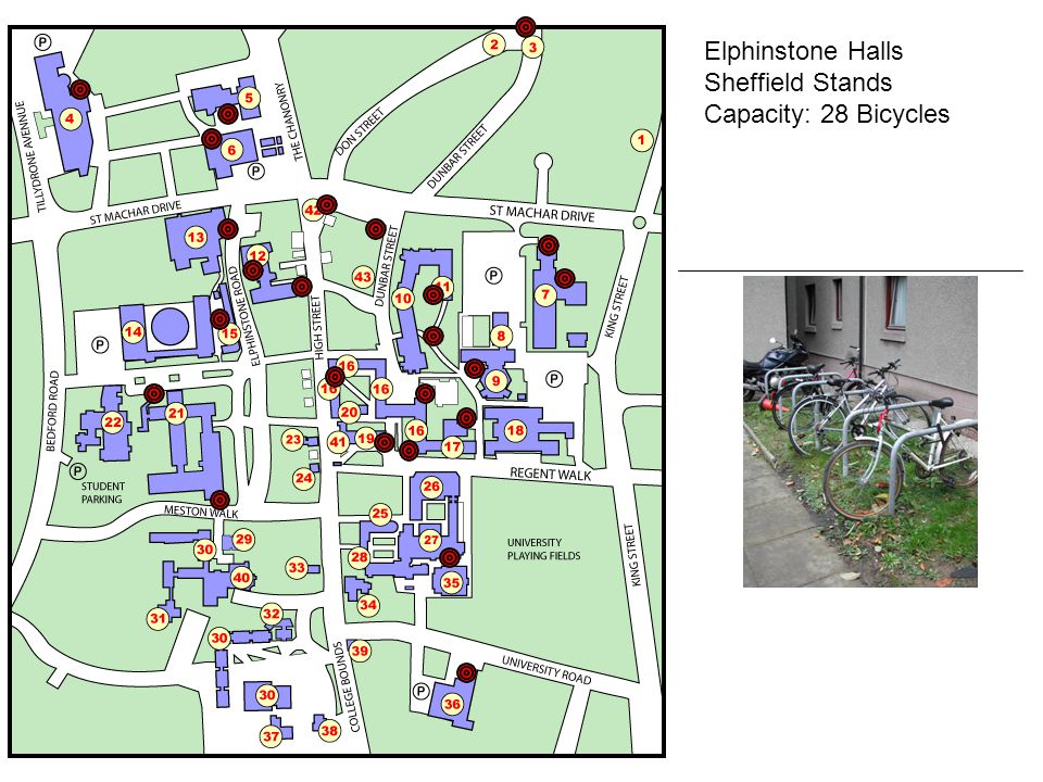 Elphinstone Halls Sheffield Stands Capacity: 28 Bicycles