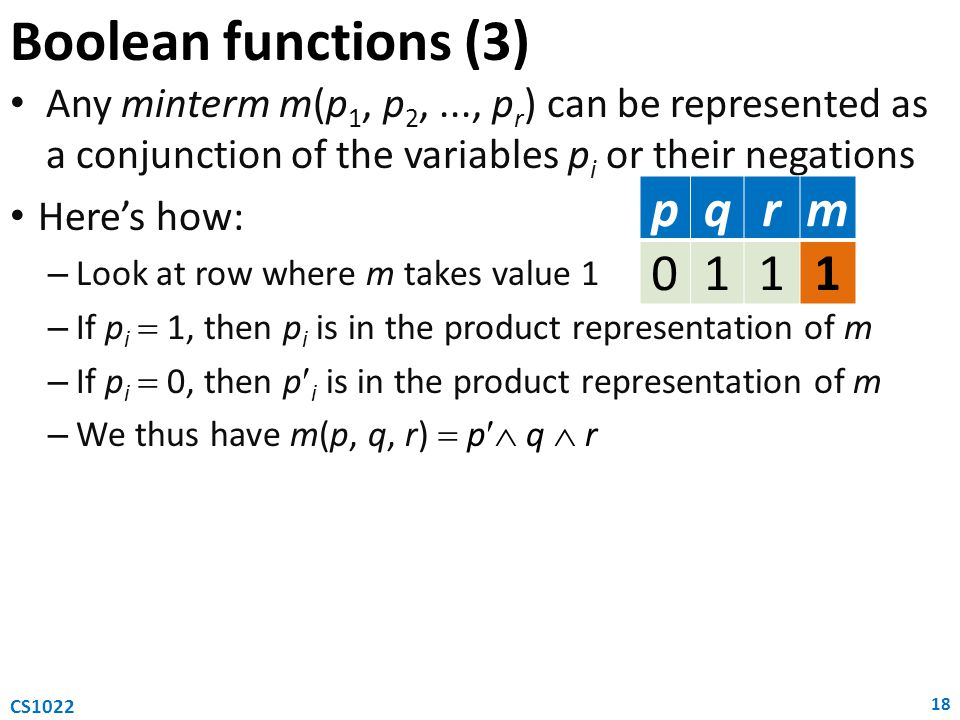 Any minterm m(p 1, p 2,..., p r ) can be represented as a conjunction of the variables p i or their negations Here's how: – Look at row where m takes