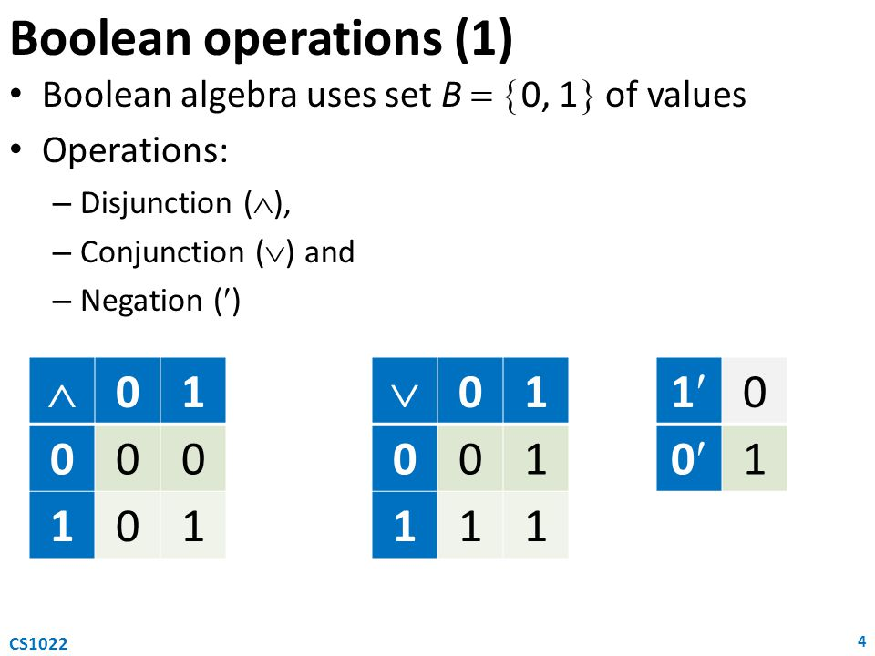 Boolean operations (1) Boolean algebra uses set B   0, 1  of values Operations: – Disjunction (  ), – Conjunction (  ) and – Negation () 4 CS1022