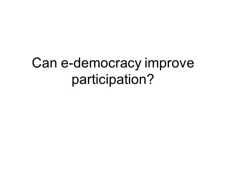 Can e-democracy improve participation?