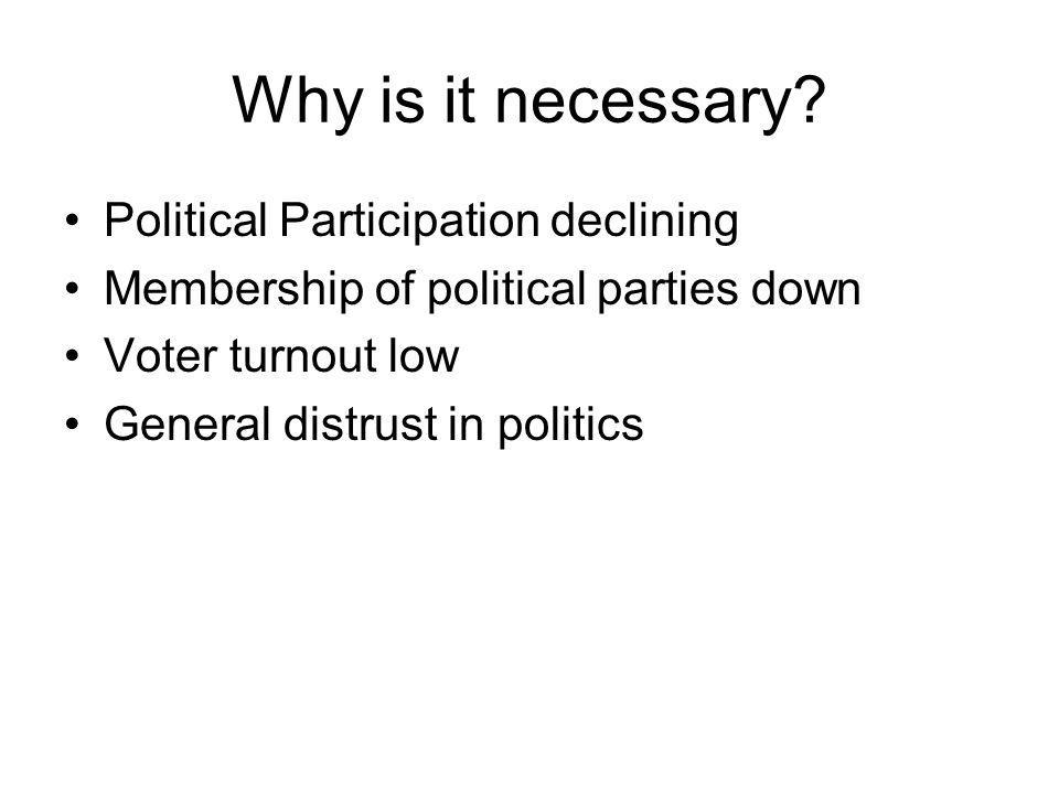 Why is it necessary? Political Participation declining Membership of political parties down Voter turnout low General distrust in politics