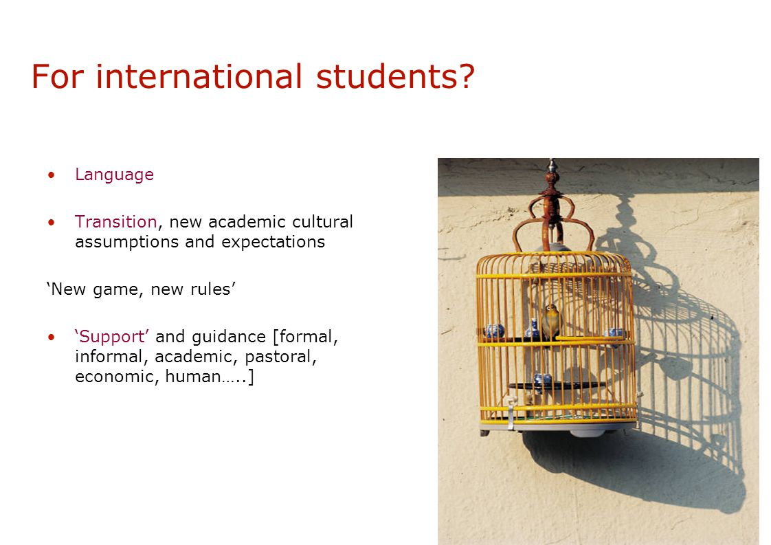 For international students.