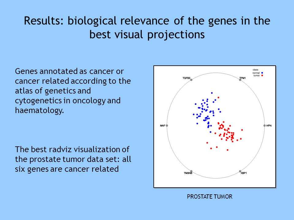 Results: biological relevance of the genes in the best visual projections Genes annotated as cancer or cancer related according to the atlas of geneti