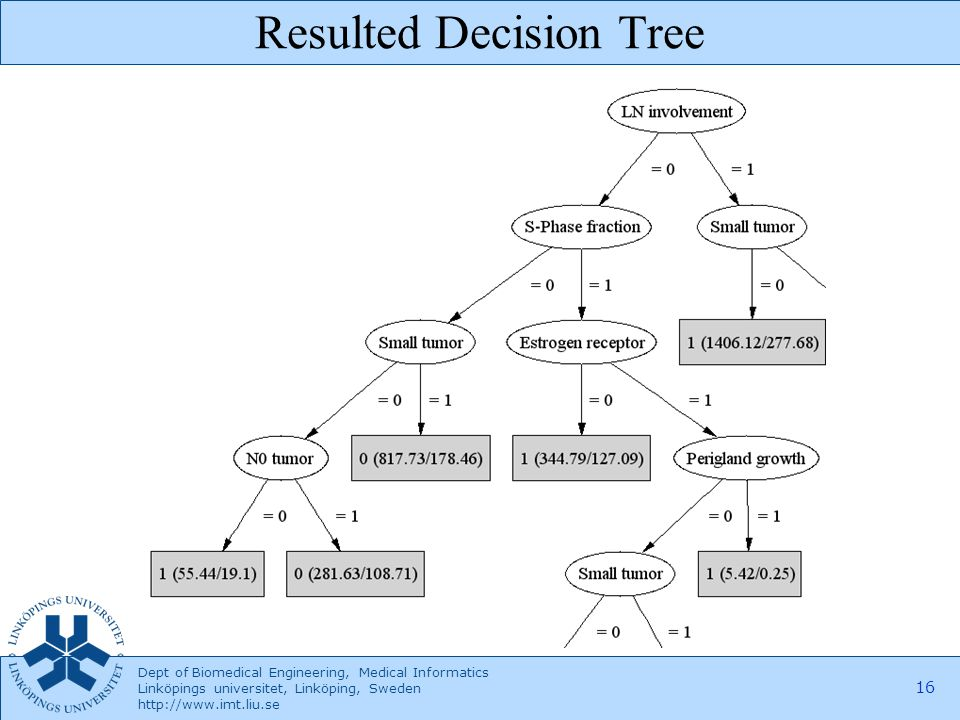 Dept of Biomedical Engineering, Medical Informatics Linköpings universitet, Linköping, Sweden http://www.imt.liu.se 16 Resulted Decision Tree