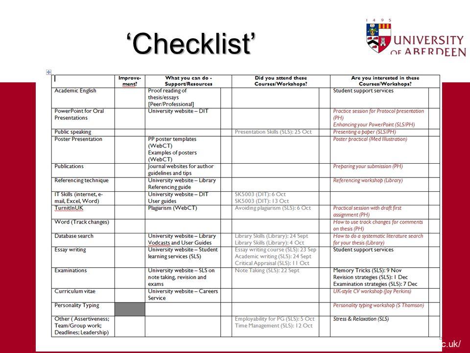 www.abdn.ac.uk/ 'Checklist'