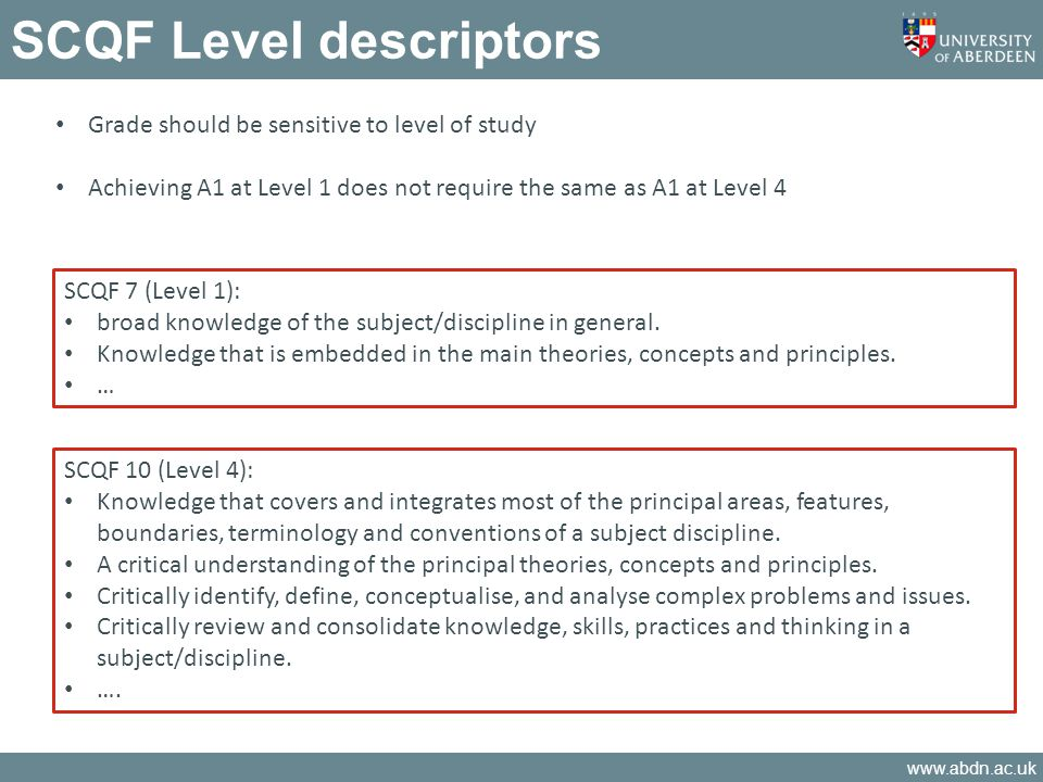 www.abdn.ac.uk SCQF Level descriptors Grade should be sensitive to level of study Achieving A1 at Level 1 does not require the same as A1 at Level 4 S