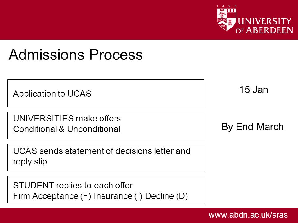 www.abdn.ac.uk/sras Admissions Process 15 Jan By End March Application to UCAS UNIVERSITIES make offers Conditional & Unconditional UCAS sends statement of decisions letter and reply slip STUDENT replies to each offer Firm Acceptance (F) Insurance (I) Decline (D)