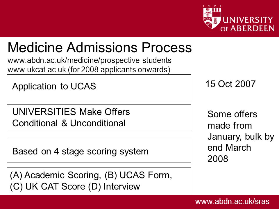 www.abdn.ac.uk/sras Medicine Admissions Process www.abdn.ac.uk/medicine/prospective-students www.ukcat.ac.uk (for 2008 applicants onwards) 15 Oct 2007 Some offers made from January, bulk by end March 2008 Application to UCAS UNIVERSITIES Make Offers Conditional & Unconditional Based on 4 stage scoring system (A) Academic Scoring, (B) UCAS Form, (C) UK CAT Score (D) Interview