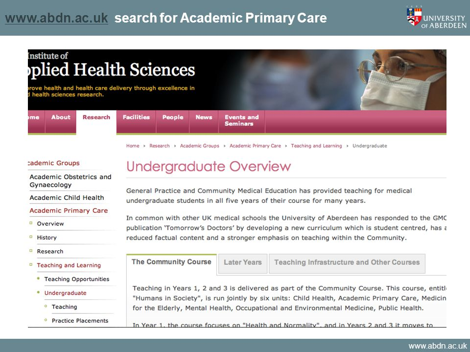 www.abdn.ac.uk www.abdn.ac.uk search for Academic Primary Care