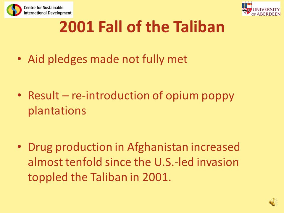 2001 Fall of the Taliban Aid pledges made not fully met Result – re-introduction of opium poppy plantations Drug production in Afghanistan increased almost tenfold since the U.S.-led invasion toppled the Taliban in 2001.
