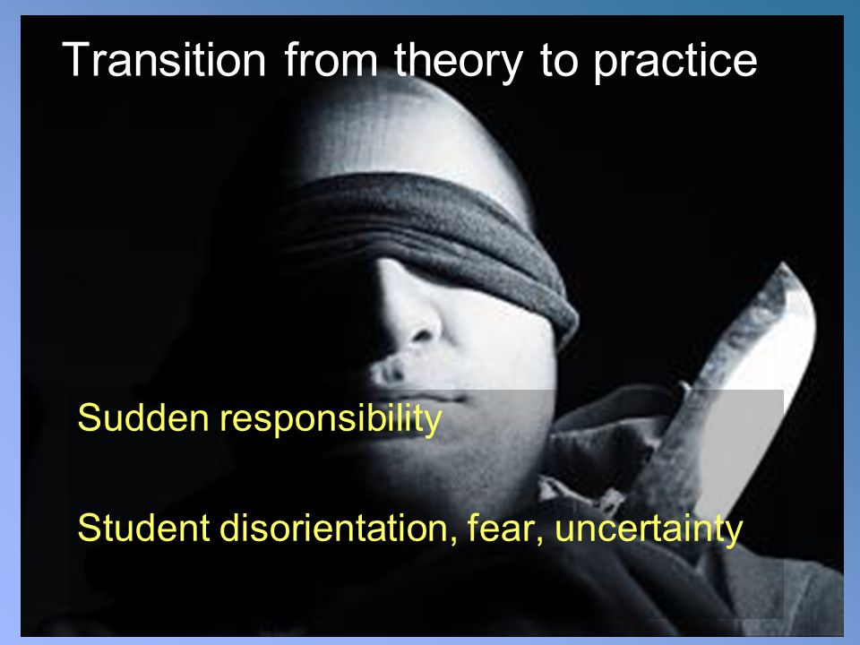 Transition from theory to practice Sudden responsibility Student disorientation, fear, uncertainty