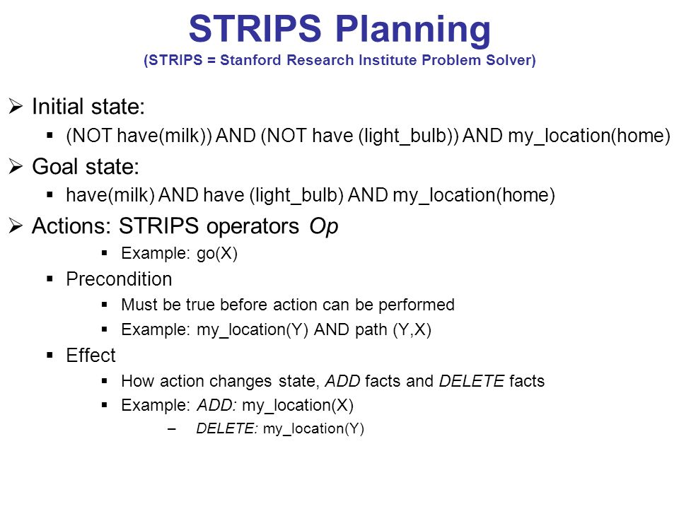 STRIPS Planning (STRIPS = Stanford Research Institute Problem Solver)  Initial state:  (NOT have(milk)) AND (NOT have (light_bulb)) AND my_location(home)  Goal state:  have(milk) AND have (light_bulb) AND my_location(home)  Actions: STRIPS operators Op  Example: go(X)  Precondition  Must be true before action can be performed  Example: my_location(Y) AND path (Y,X)  Effect  How action changes state, ADD facts and DELETE facts  Example: ADD: my_location(X) –DELETE: my_location(Y)