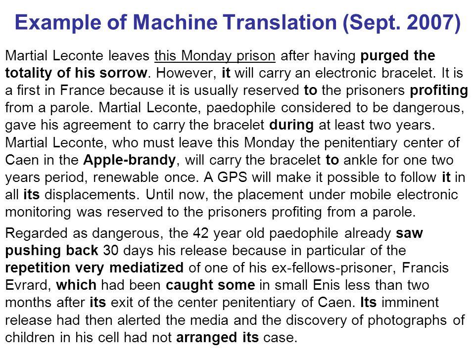 Example of Machine Translation (Sept.
