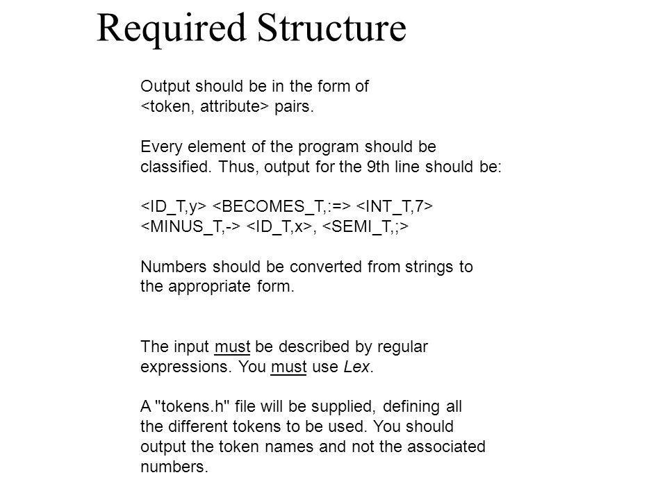 Required Structure Output should be in the form of pairs.