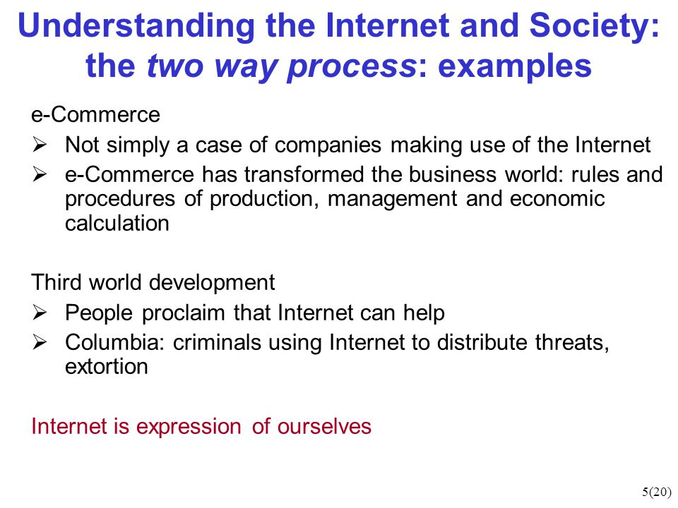 5(20) Understanding the Internet and Society: the two way process: examples e-Commerce  Not simply a case of companies making use of the Internet  e-Commerce has transformed the business world: rules and procedures of production, management and economic calculation Third world development  People proclaim that Internet can help  Columbia: criminals using Internet to distribute threats, extortion Internet is expression of ourselves