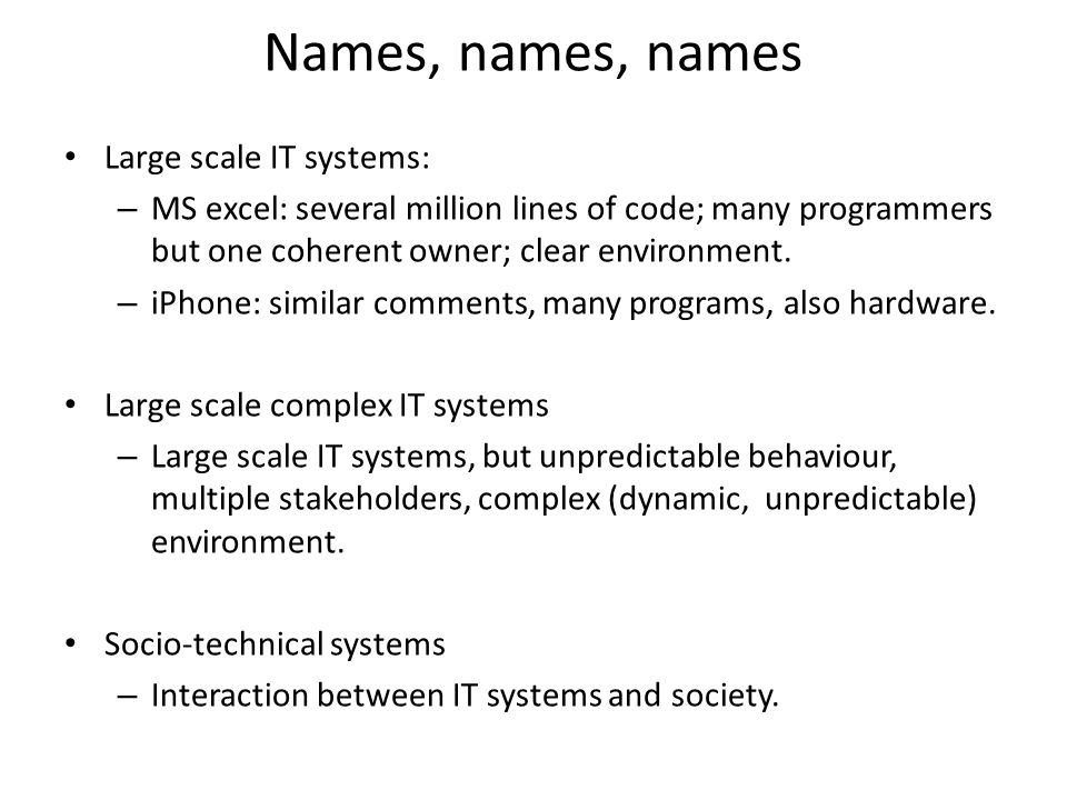 Failures and Recovery If can't completely design system, and can't control its evolution, and its parts, their interactions and environment are changing then it is very difficult (if not impossible) to prevent failures.