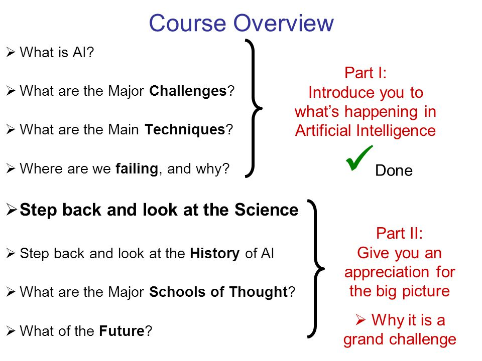 Course Overview  What is AI.  What are the Major Challenges.