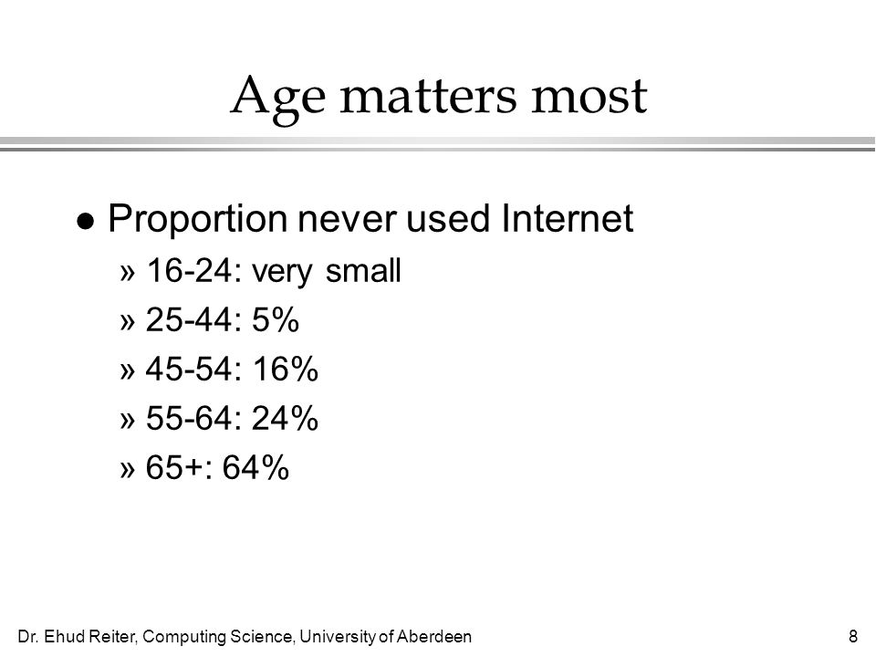 Dr. Ehud Reiter, Computing Science, University of Aberdeen8 Age matters most l Proportion never used Internet »16-24: very small »25-44: 5% »45-54: 16
