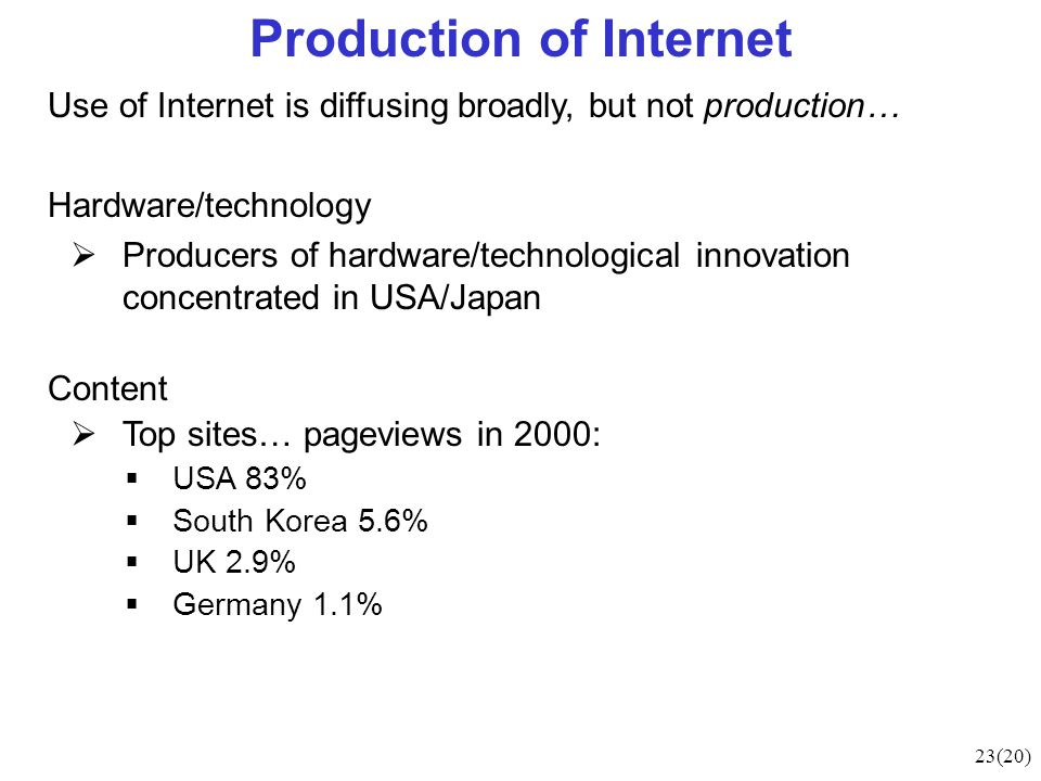 23(20) Production of Internet Use of Internet is diffusing broadly, but not production… Hardware/technology  Producers of hardware/technological innovation concentrated in USA/Japan Content  Top sites… pageviews in 2000:  USA 83%  South Korea 5.6%  UK 2.9%  Germany 1.1%