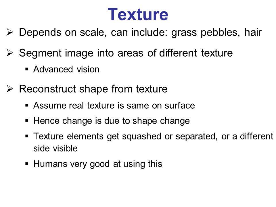 Texture  Depends on scale, can include: grass pebbles, hair  Segment image into areas of different texture  Advanced vision  Reconstruct shape fro