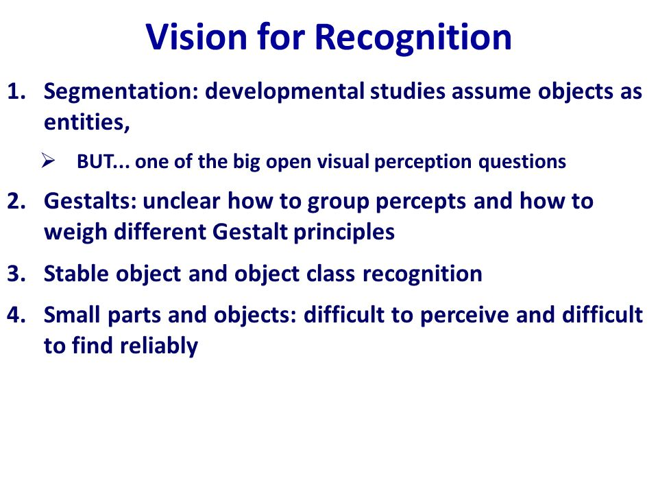 Vision for Recognition 1.Segmentation: developmental studies assume objects as entities,  BUT...