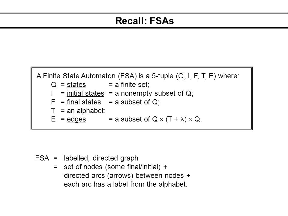 Recall: FSAs A Finite State Automaton (FSA) is a 5-tuple (Q, I, F, T, E) where: Q = states = a finite set; I = initial states = a nonempty subset of Q