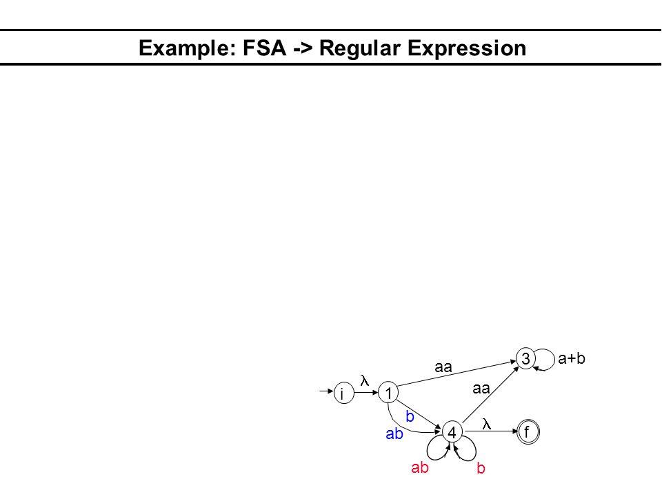 Example: FSA -> Regular Expression 1 3 4 aa b b a+b i f ab