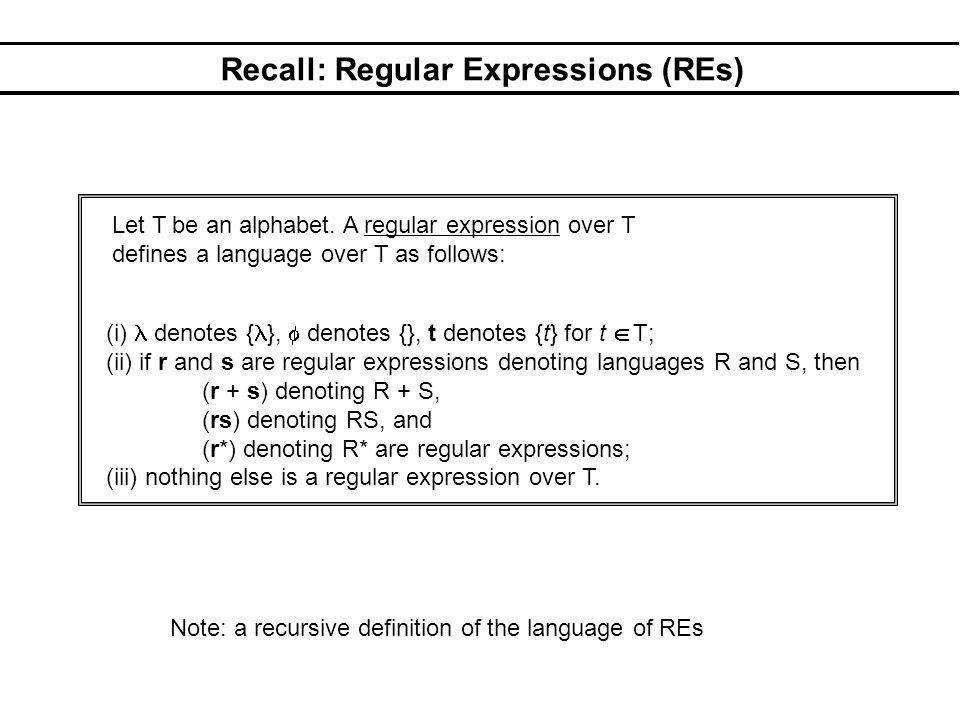 Recall: Regular Expressions (REs) (i) denotes { },  denotes {}, t denotes {t} for t  T; (ii) if r and s are regular expressions denoting languages