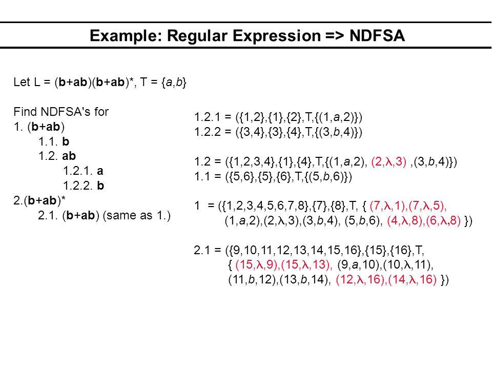 Example: Regular Expression => NDFSA Let L = (b+ab)(b+ab)*, T = {a,b} Find NDFSA's for 1. (b+ab) 1.1. b 1.2. ab 1.2.1. a 1.2.2. b 2.(b+ab)* 2.1. (b+ab
