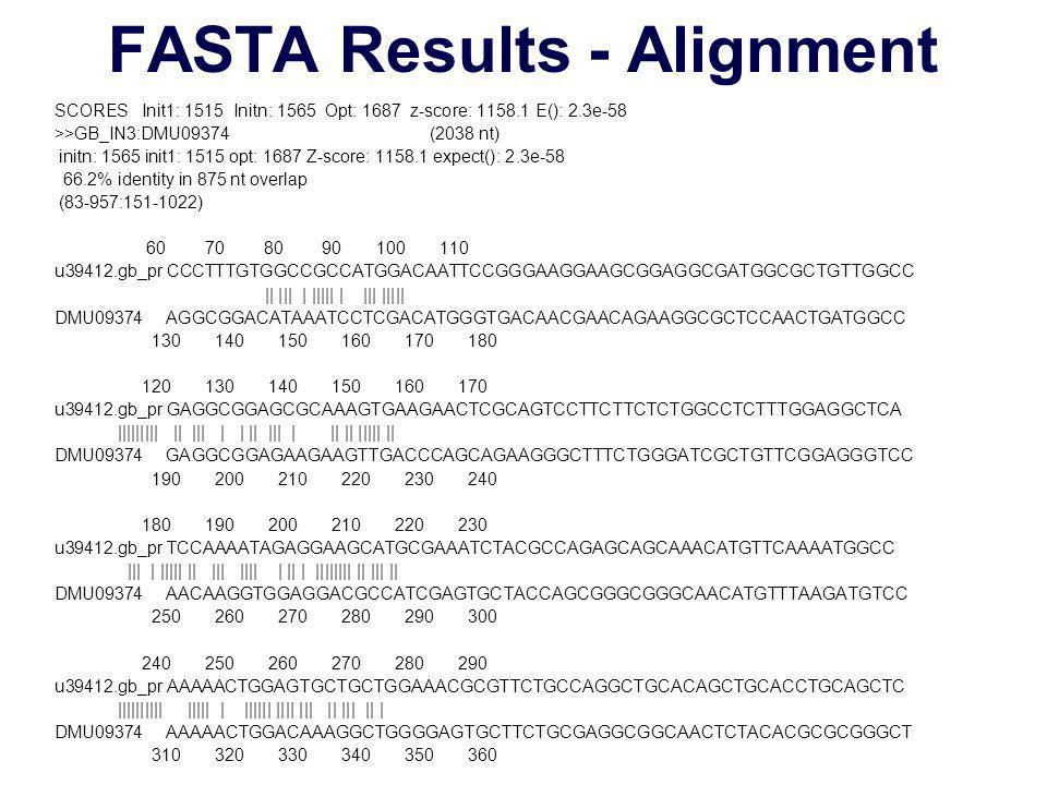 FASTA Results - Alignment SCORES Init1: 1515 Initn: 1565 Opt: 1687 z-score: 1158.1 E(): 2.3e-58 >>GB_IN3:DMU09374 (2038 nt) initn: 1565 init1: 1515 opt: 1687 Z-score: 1158.1 expect(): 2.3e-58 66.2% identity in 875 nt overlap (83-957:151-1022) 60 70 80 90 100 110 u39412.gb_pr CCCTTTGTGGCCGCCATGGACAATTCCGGGAAGGAAGCGGAGGCGATGGCGCTGTTGGCC || ||| | ||||| | ||| ||||| DMU09374 AGGCGGACATAAATCCTCGACATGGGTGACAACGAACAGAAGGCGCTCCAACTGATGGCC 130 140 150 160 170 180 120 130 140 150 160 170 u39412.gb_pr GAGGCGGAGCGCAAAGTGAAGAACTCGCAGTCCTTCTTCTCTGGCCTCTTTGGAGGCTCA ||||||||| || ||| | | || ||| | || || ||||| || DMU09374 GAGGCGGAGAAGAAGTTGACCCAGCAGAAGGGCTTTCTGGGATCGCTGTTCGGAGGGTCC 190 200 210 220 230 240 180 190 200 210 220 230 u39412.gb_pr TCCAAAATAGAGGAAGCATGCGAAATCTACGCCAGAGCAGCAAACATGTTCAAAATGGCC ||| | ||||| || ||| |||| | || | |||||||| || ||| || DMU09374 AACAAGGTGGAGGACGCCATCGAGTGCTACCAGCGGGCGGGCAACATGTTTAAGATGTCC 250 260 270 280 290 300 240 250 260 270 280 290 u39412.gb_pr AAAAACTGGAGTGCTGCTGGAAACGCGTTCTGCCAGGCTGCACAGCTGCACCTGCAGCTC |||||||||| ||||| | |||||| |||| ||| || ||| || | DMU09374 AAAAACTGGACAAAGGCTGGGGAGTGCTTCTGCGAGGCGGCAACTCTACACGCGCGGGCT 310 320 330 340 350 360