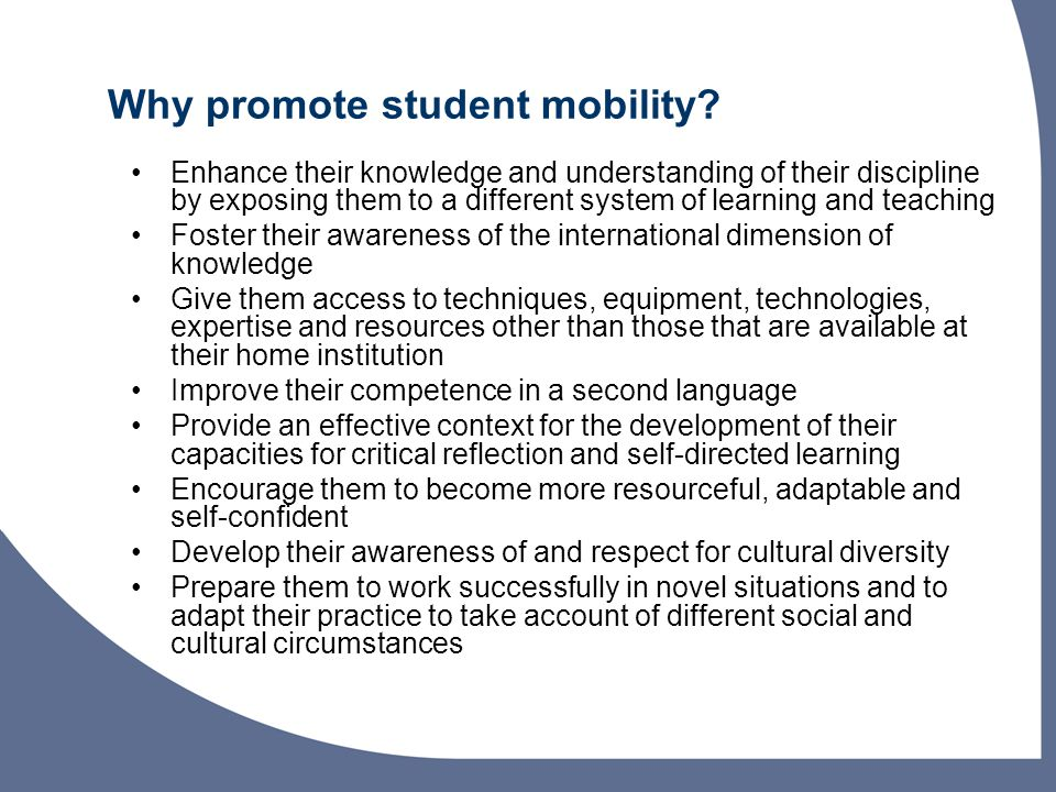 Why promote student mobility.