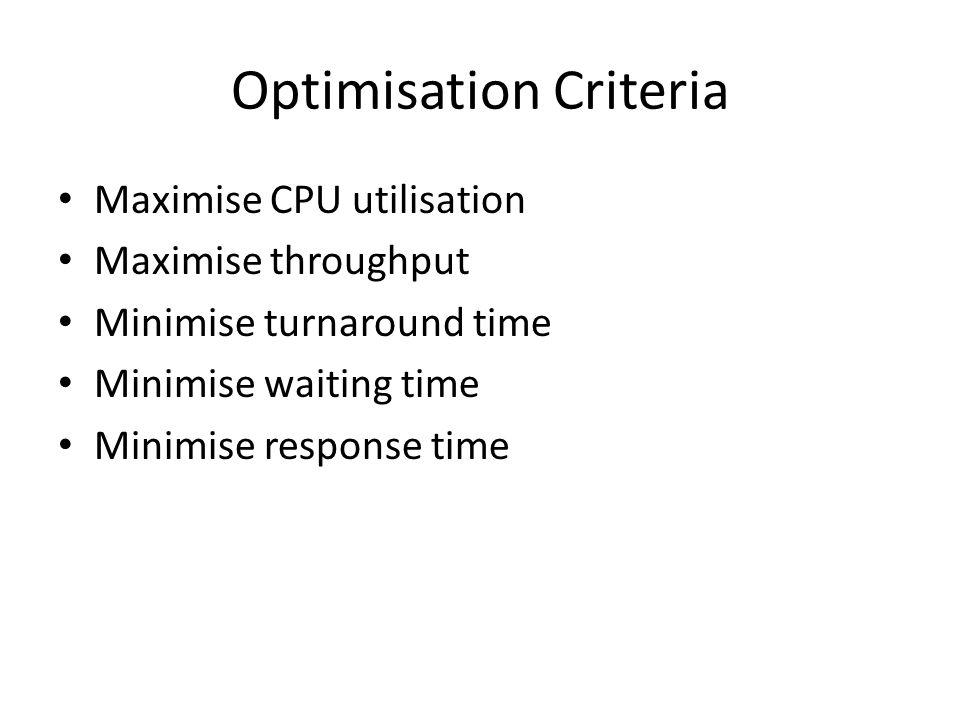 Optimisation Criteria Maximise CPU utilisation Maximise throughput Minimise turnaround time Minimise waiting time Minimise response time