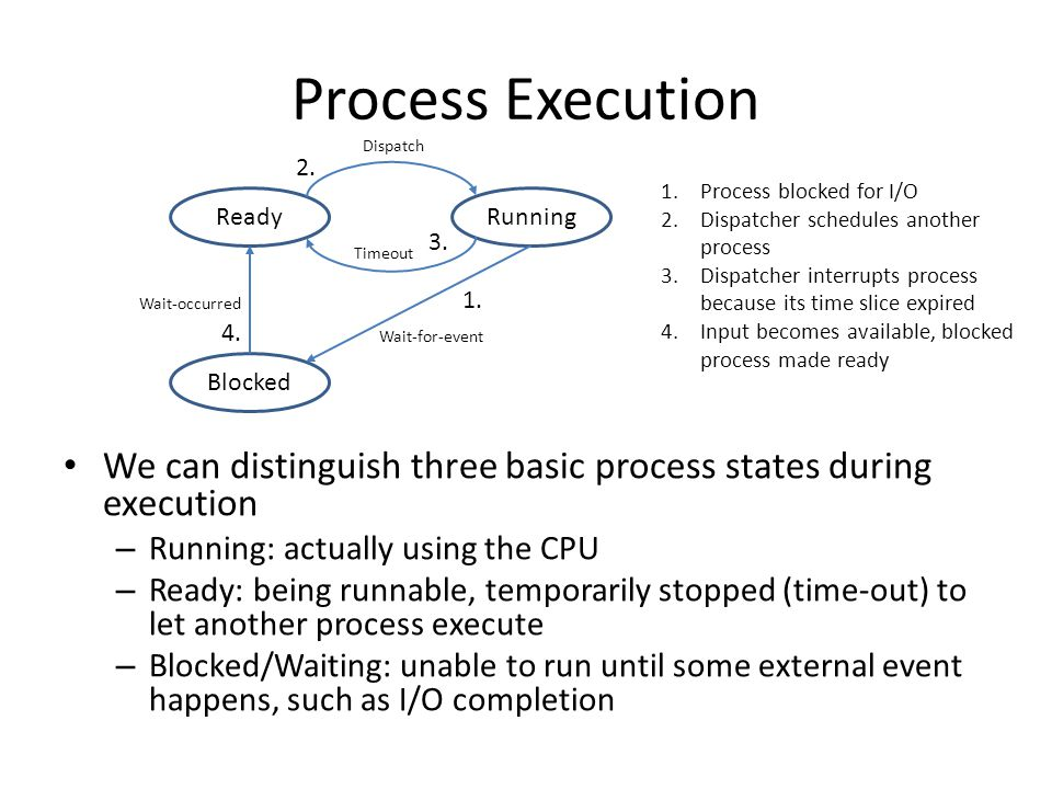 Process Execution We can distinguish three basic process states during execution – Running: actually using the CPU – Ready: being runnable, temporaril