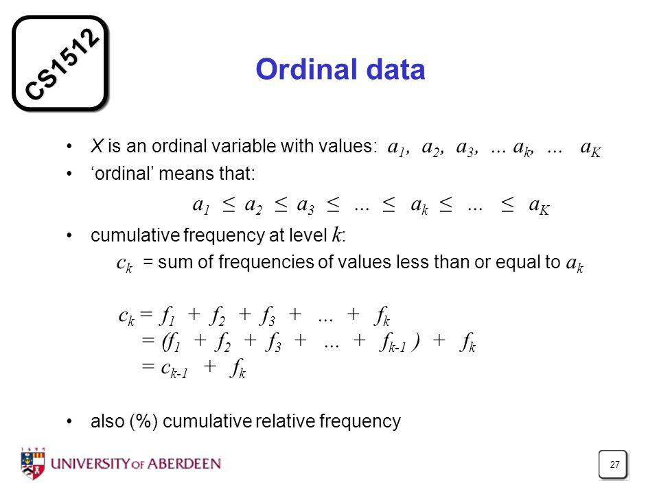 CS1512 27 Ordinal data X is an ordinal variable with values: a 1, a 2, a 3,...
