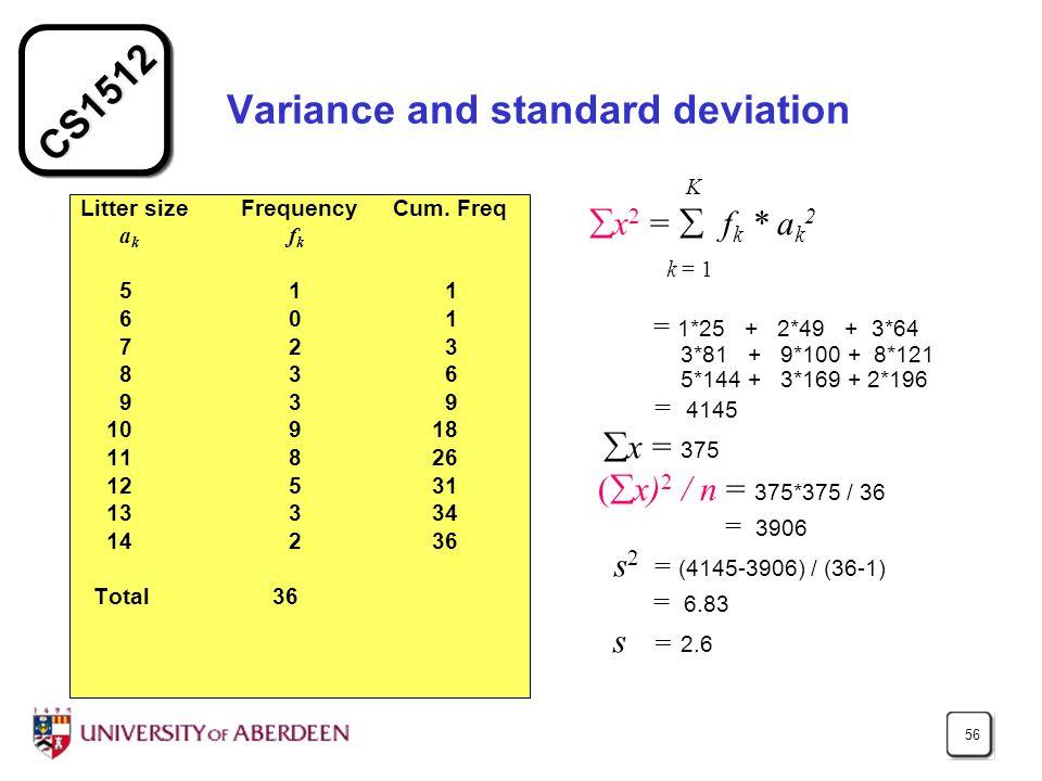 CS1512 56 Variance and standard deviation Litter size Frequency Cum.