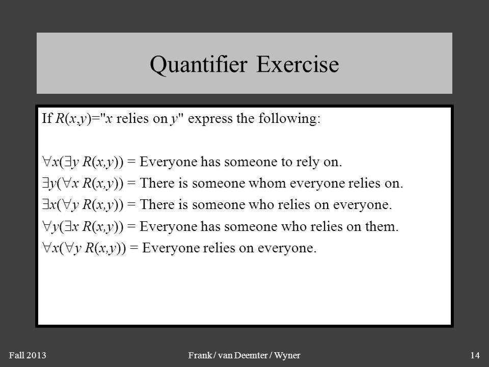 Fall 2013Frank / van Deemter / Wyner14 Quantifier Exercise If R(x,y)=