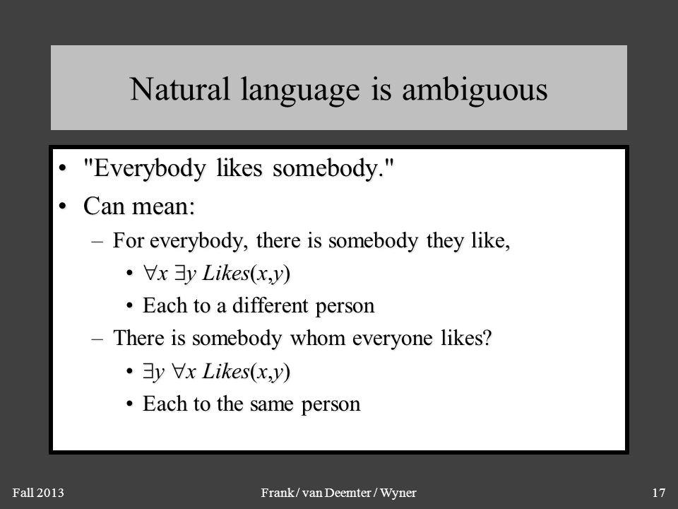 Fall 2013Frank / van Deemter / Wyner17 Natural language is ambiguous