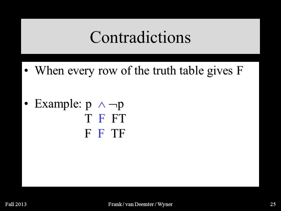 Contradictions A contradiction is a compound proposition that is false no matter what.