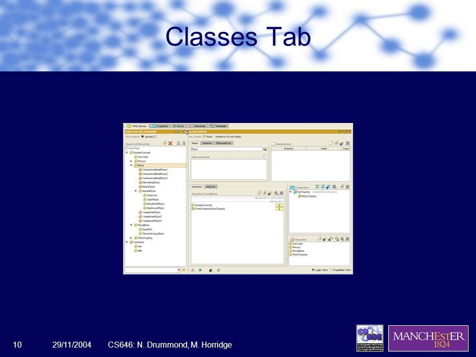 29/11/2004CS646: N. Drummond, M. Horridge10 Classes Tab