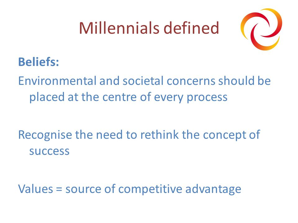 Millennials defined Beliefs: Environmental and societal concerns should be placed at the centre of every process Recognise the need to rethink the concept of success Values = source of competitive advantage